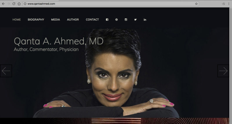 Media Management & website for Author, Commentator, and Physician Dr. Qanta Ahmed